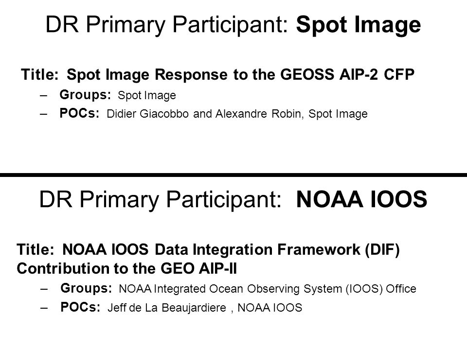 DR Primary Participant: NOAA GOES-R and GMU Title: NOAA-NASA GOES-R and GMU CSISS joint efforts for persistent GOES data services, weather scenarios, Web geo-processing services, and BPEL-based workflows –Groups: Center for Spatial Information Science and Systems (CSISS) of George Mason University, NOAA, and NASA –POCs: Ken McDonald (NOAA), Liping Di (GMU) DR Primary Participant: GEO-Ukraine Title: Sensor Web for Flood Applications –Groups: National Space Agency of Ukraine (NSAU), National Academy of Sciences of Ukraine (NASU), Space Research Institute (SRI) of NASU- NSAU –POCs: Prof.