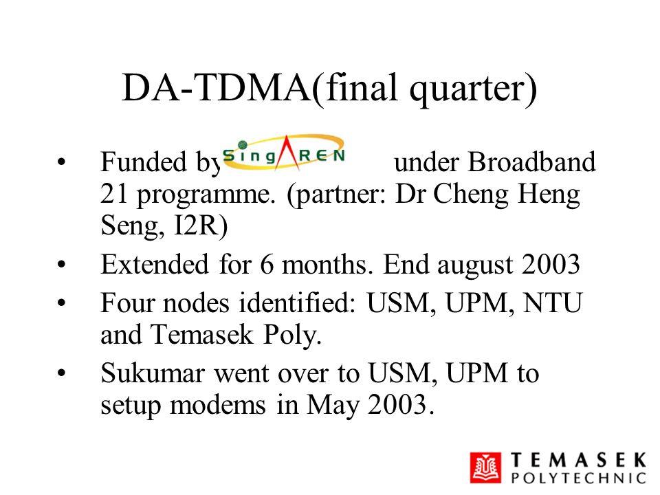 DA-TDMA(final quarter) Funded by under Broadband 21 programme. (partner: Dr Cheng Heng Seng, I2R) Extended for 6 months. End august 2003 Four nodes id