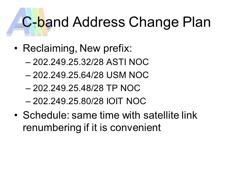 C-band Address Change Plan Reclaiming, New prefix: – /28 ASTI NOC – /28 USM NOC – /28 TP NOC – /28 IOIT NOC Schedule: same time with satellite link renumbering if it is convenient