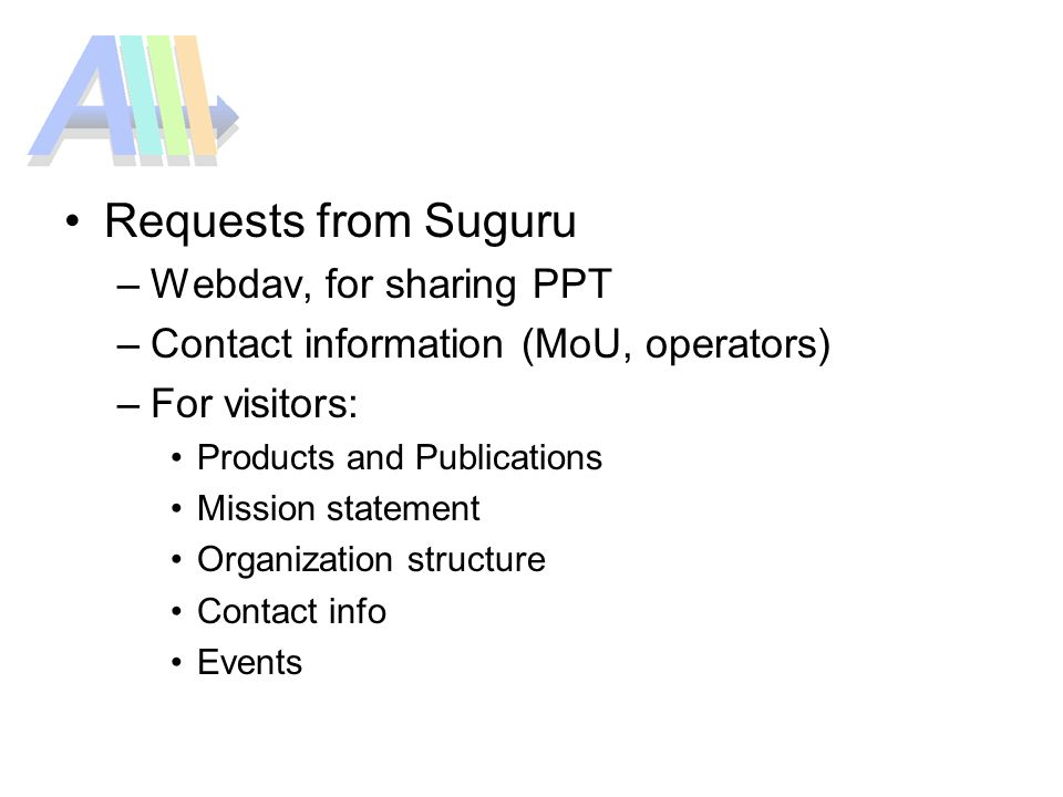 Requests from Suguru –Webdav, for sharing PPT –Contact information (MoU, operators) –For visitors: Products and Publications Mission statement Organization structure Contact info Events
