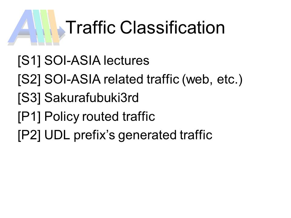 Traffic Classification [S1] SOI-ASIA lectures [S2] SOI-ASIA related traffic (web, etc.) [S3] Sakurafubuki3rd [P1] Policy routed traffic [P2] UDL prefixs generated traffic