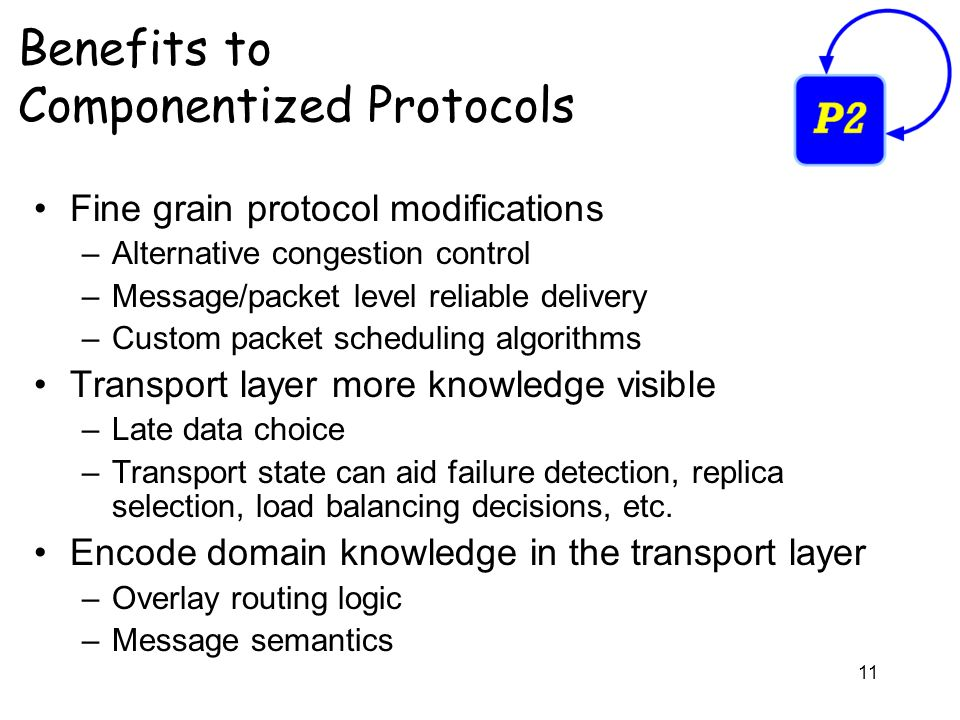 11 Benefits to Componentized Protocols Fine grain protocol modifications –Alternative congestion control –Message/packet level reliable delivery –Custom packet scheduling algorithms Transport layer more knowledge visible –Late data choice –Transport state can aid failure detection, replica selection, load balancing decisions, etc.