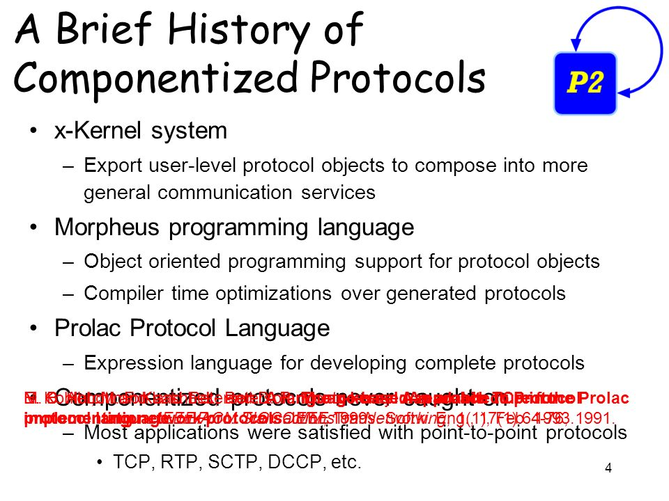 4 A Brief History of Componentized Protocols x-Kernel system –Export user-level protocol objects to compose into more general communication services Morpheus programming language –Object oriented programming support for protocol objects –Compiler time optimizations over generated protocols Prolac Protocol Language –Expression language for developing complete protocols Componentized protocols never caught on –Most applications were satisfied with point-to-point protocols TCP, RTP, SCTP, DCCP, etc.