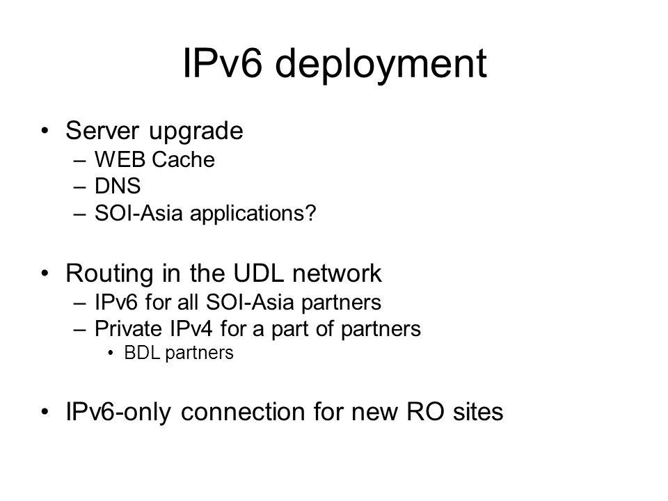 IPv6 deployment Server upgrade –WEB Cache –DNS –SOI-Asia applications.