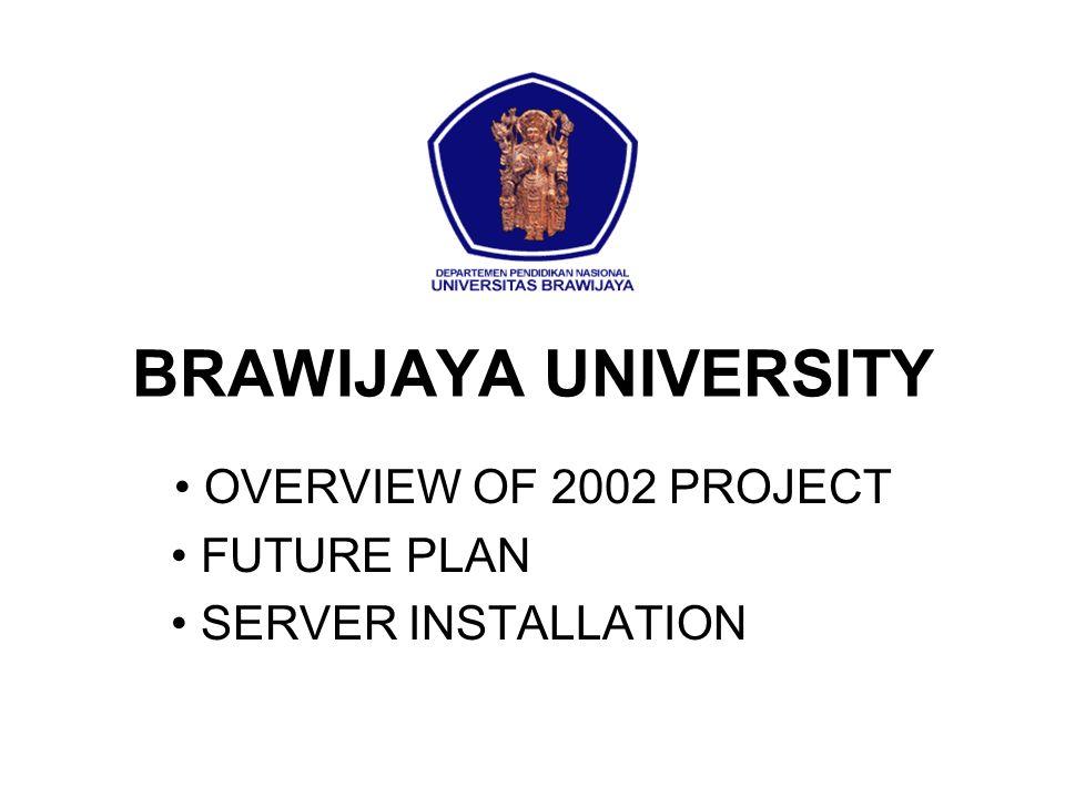 BRAWIJAYA UNIVERSITY OVERVIEW OF 2002 PROJECT FUTURE PLAN SERVER INSTALLATION