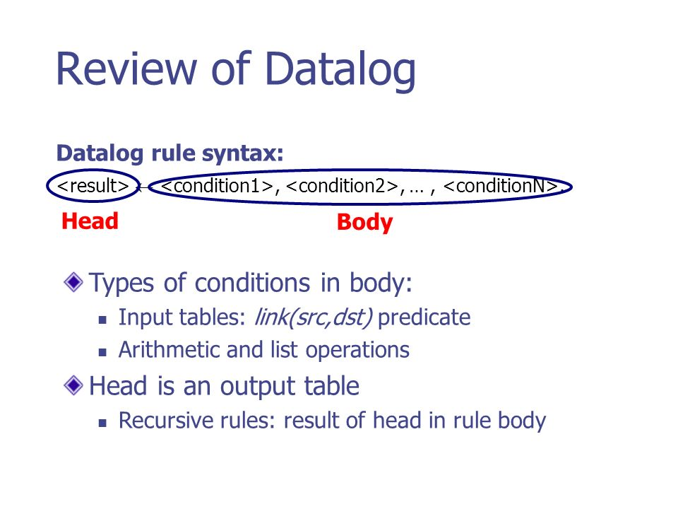 Review of Datalog,, …,. Datalog rule syntax: Types of conditions in body: Input tables: link(src,dst) predicate Arithmetic and list operations Head is