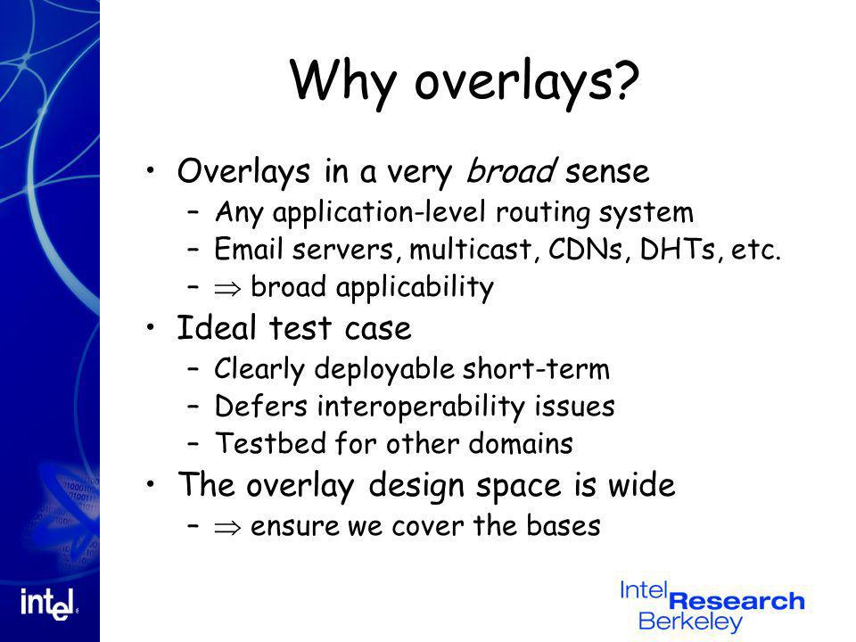 Why overlays? Overlays in a very broad sense –Any application-level routing system –Email servers, multicast, CDNs, DHTs, etc. – broad applicability I