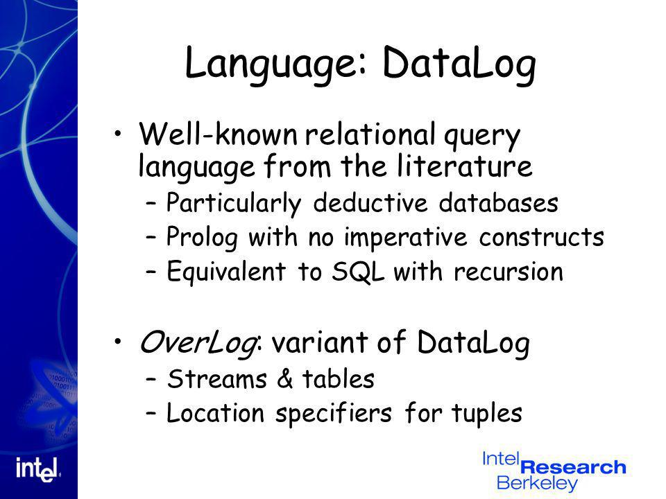 Language: DataLog Well-known relational query language from the literature –Particularly deductive databases –Prolog with no imperative constructs –Eq