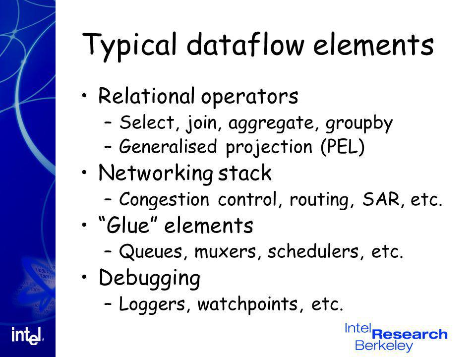 Typical dataflow elements Relational operators –Select, join, aggregate, groupby –Generalised projection (PEL) Networking stack –Congestion control, r