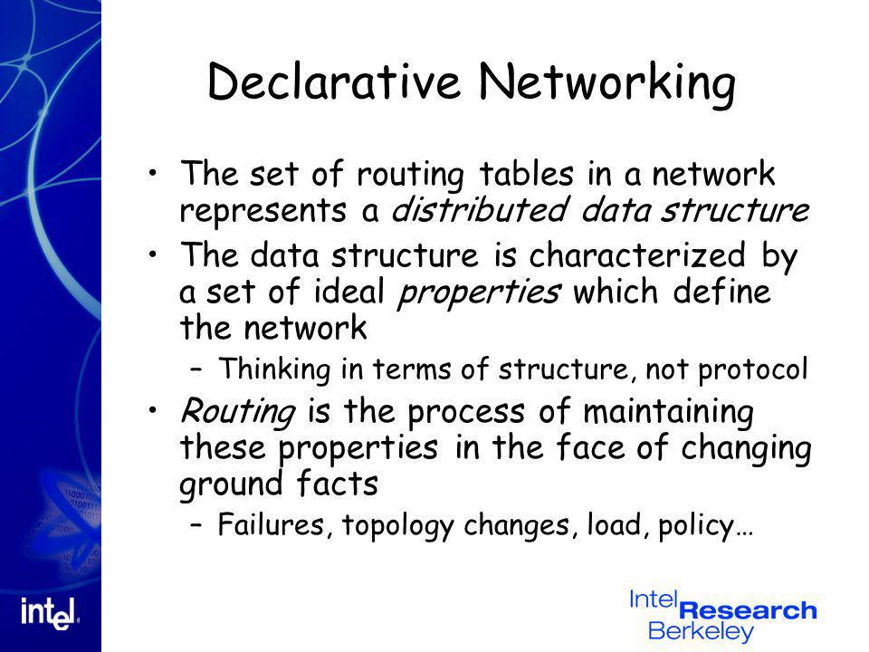 Declarative Networking The set of routing tables in a network represents a distributed data structure The data structure is characterized by a set of