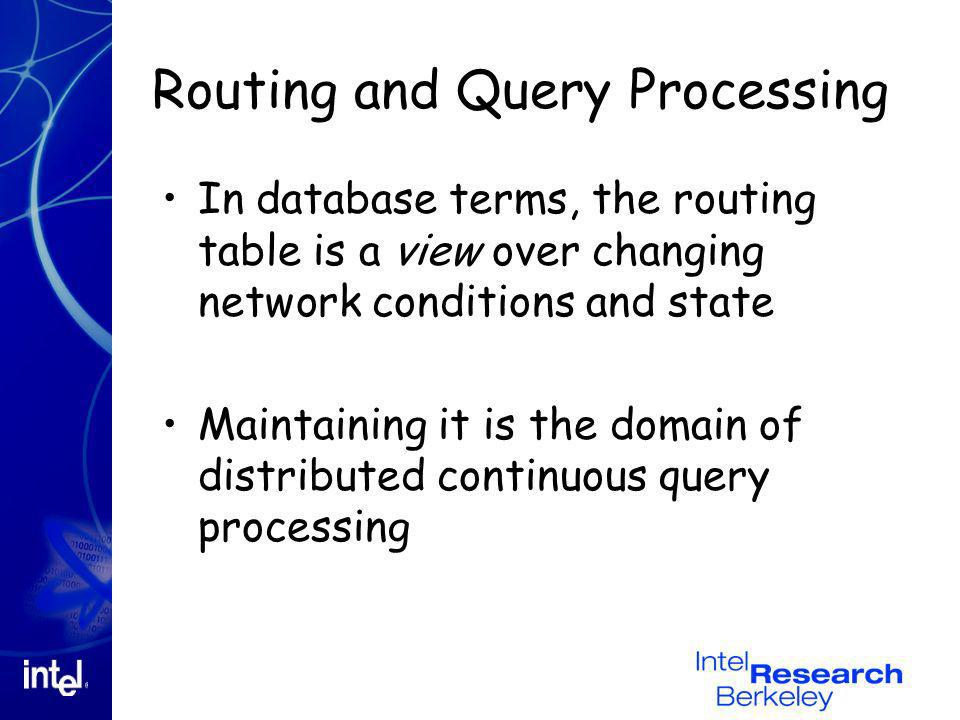Routing and Query Processing In database terms, the routing table is a view over changing network conditions and state Maintaining it is the domain of