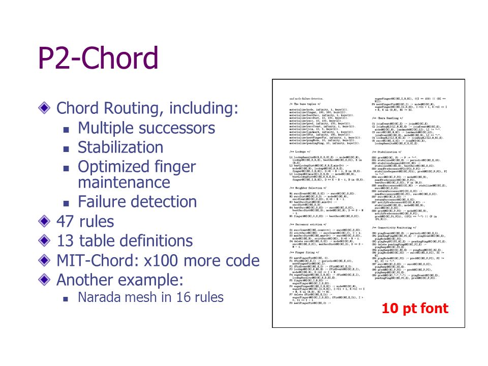 P2-Chord Chord Routing, including: Multiple successors Stabilization Optimized finger maintenance Failure detection 47 rules 13 table definitions MIT-Chord: x100 more code Another example: Narada mesh in 16 rules 10 pt font