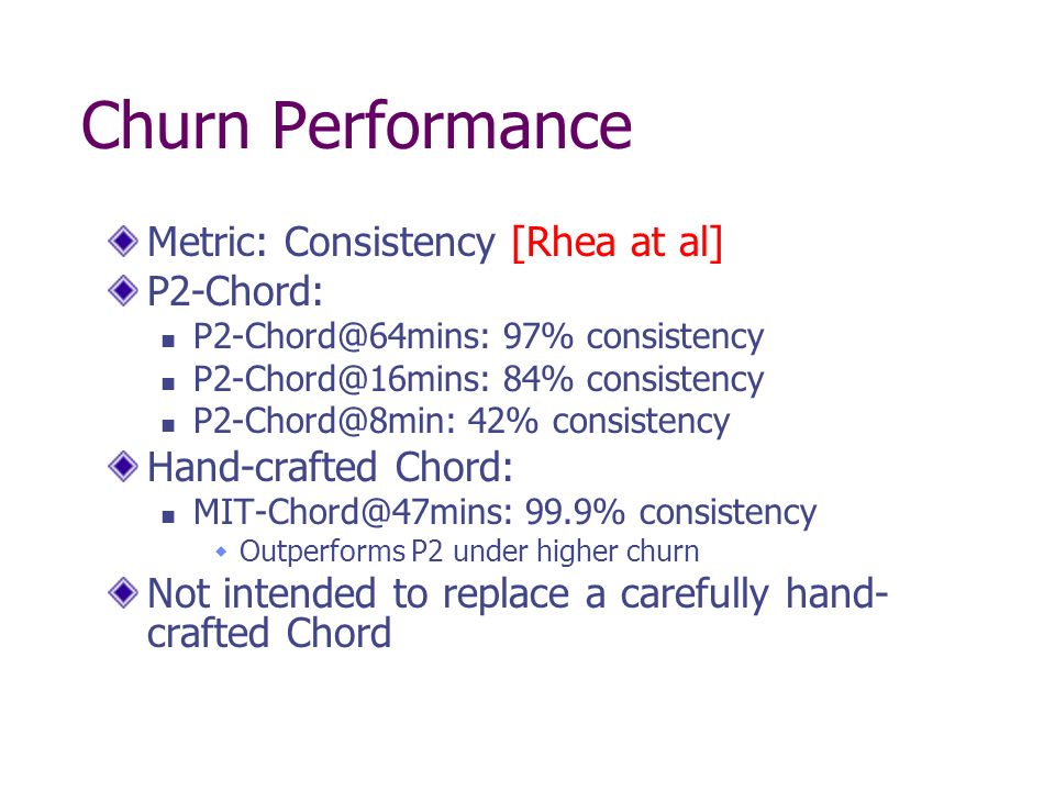 Churn Performance Metric: Consistency [Rhea at al] P2-Chord: P2-Chord@64mins: 97% consistency P2-Chord@16mins: 84% consistency P2-Chord@8min: 42% consistency Hand-crafted Chord: MIT-Chord@47mins: 99.9% consistency Outperforms P2 under higher churn Not intended to replace a carefully hand- crafted Chord