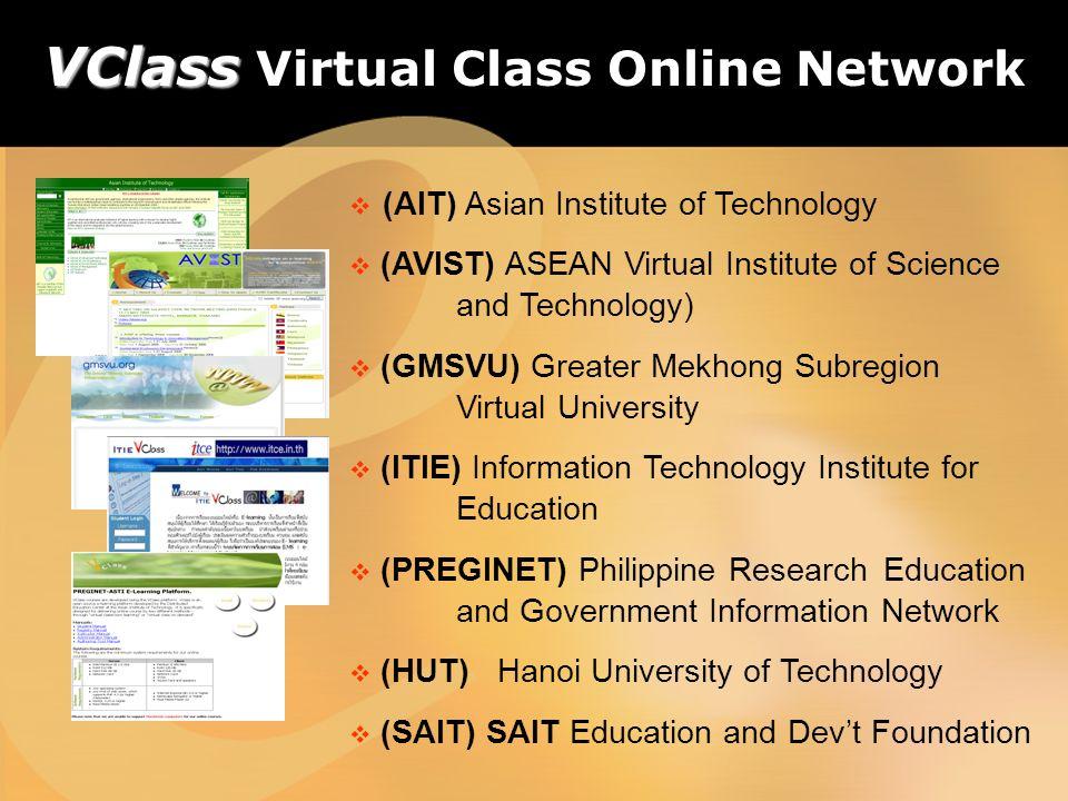 (AIT) Asian Institute of Technology (AVIST) ASEAN Virtual Institute of Science and Technology) (GMSVU) Greater Mekhong Subregion Virtual University (I