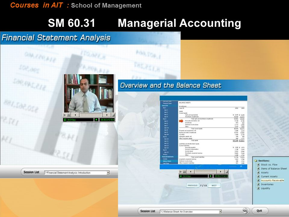 SM Managerial Accounting Courses in AIT : School of Management
