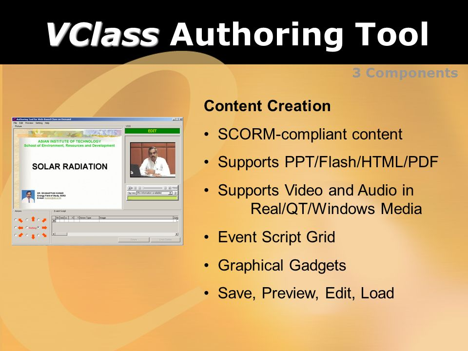 3 Components VClass VClass Authoring Tool Content Creation SCORM-compliant content Supports PPT/Flash/HTML/PDF Supports Video and Audio in Real/QT/Win