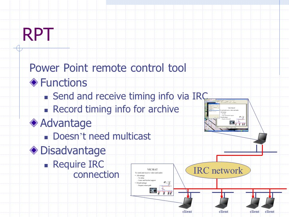 RPT Power Point remote control tool Functions Send and receive timing info via IRC Record timing info for archive Advantage Doesn t need multicast Dis
