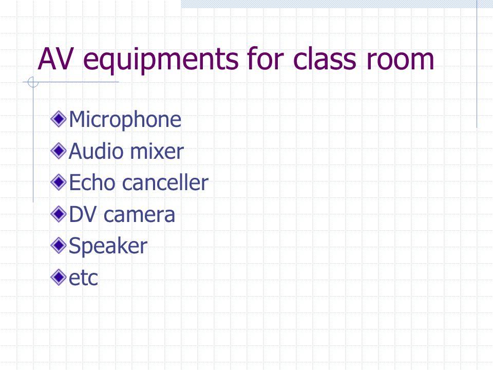 AV equipments for class room Microphone Audio mixer Echo canceller DV camera Speaker etc