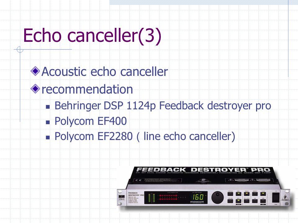Echo canceller(3) Acoustic echo canceller recommendation Behringer DSP 1124p Feedback destroyer pro Polycom EF400 Polycom EF2280 line echo canceller)