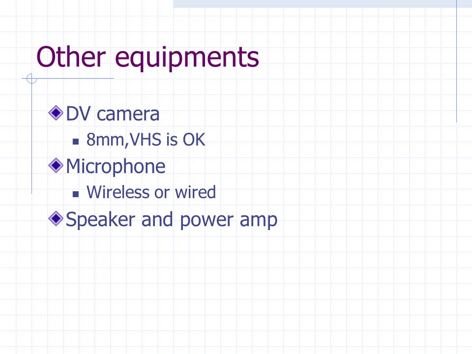 Other equipments DV camera 8mm,VHS is OK Microphone Wireless or wired Speaker and power amp