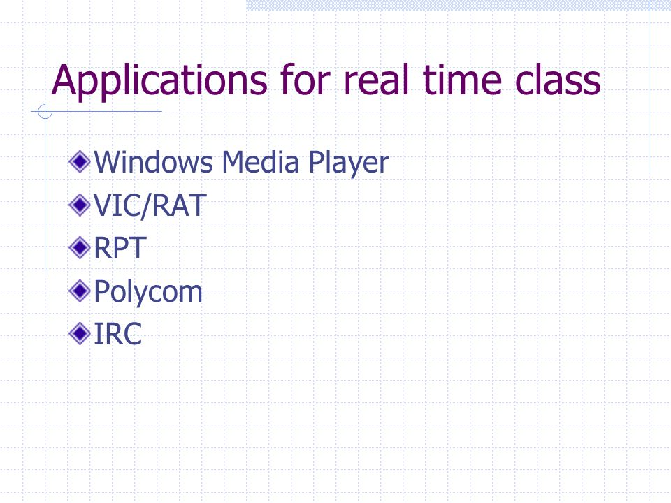 Applications for real time class Windows Media Player VIC/RAT RPT Polycom IRC