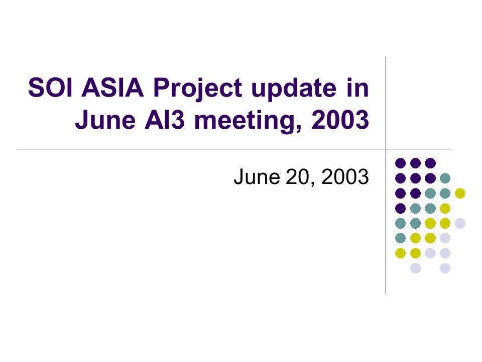 SOI ASIA Project update in June AI3 meeting, 2003 June 20, 2003