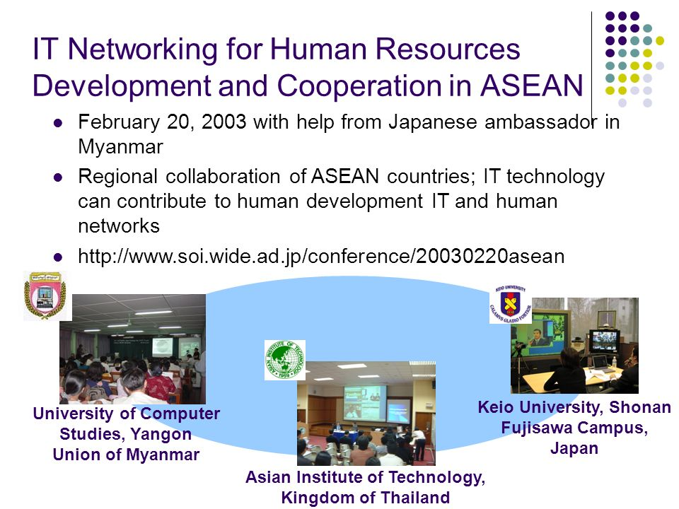 IT Networking for Human Resources Development and Cooperation in ASEAN Asian Institute of Technology, Kingdom of Thailand University of Computer Studi