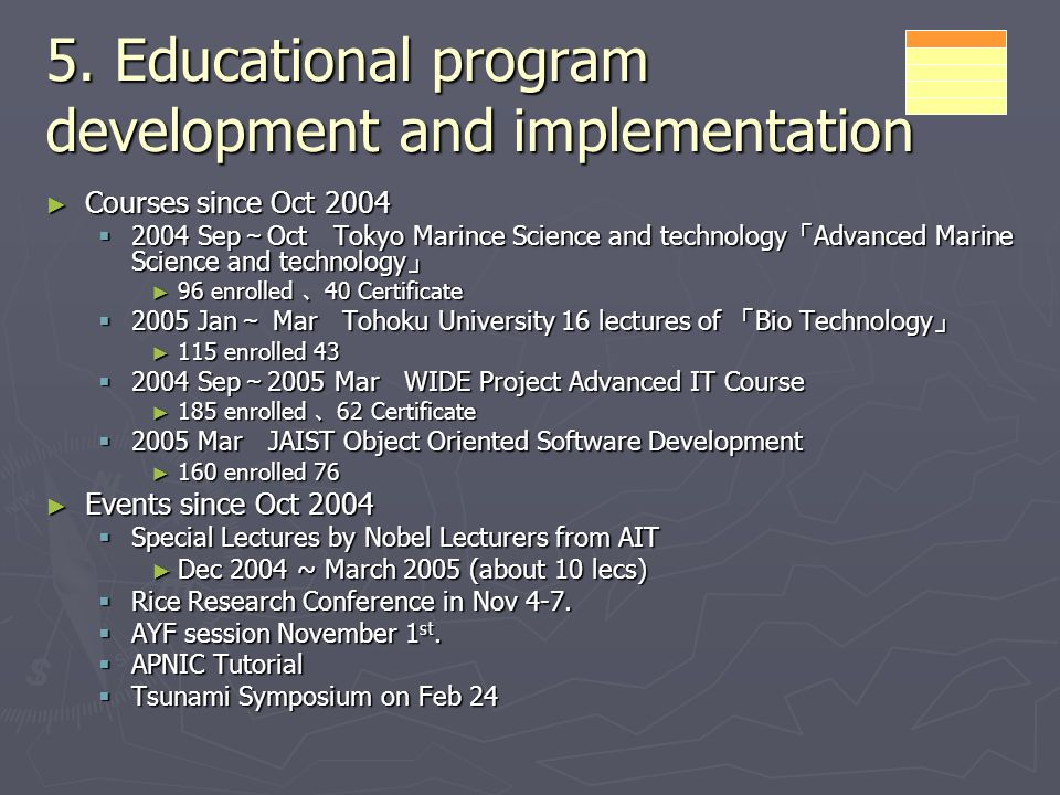 5. Educational program development and implementation Courses since Oct 2004 Courses since Oct 2004 2004 Sep Oct Tokyo Marince Science and technology
