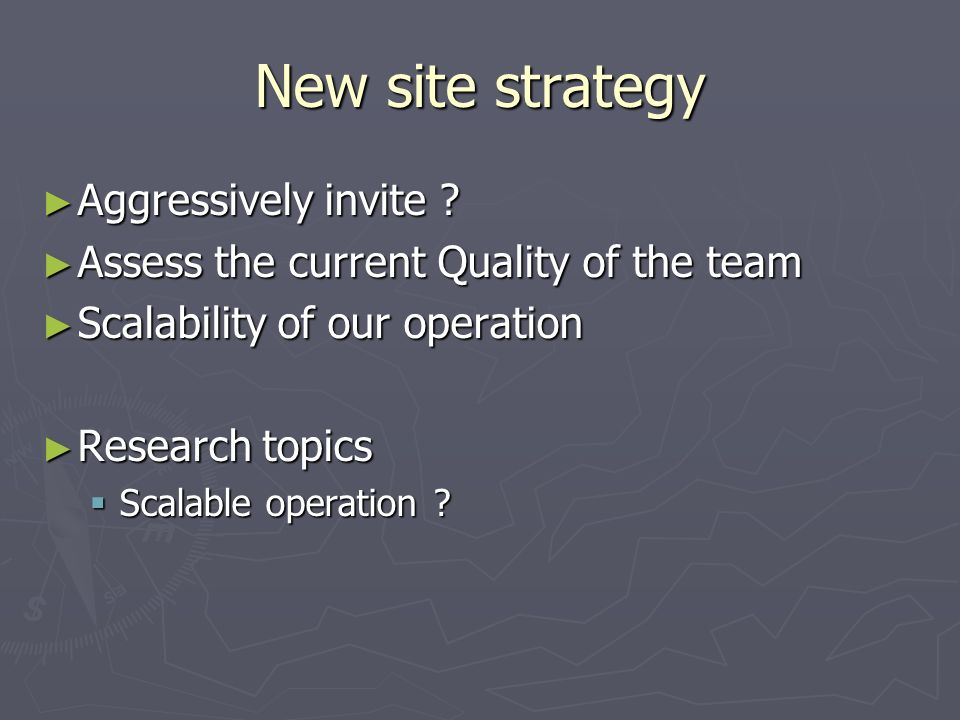 New site strategy Aggressively invite . Aggressively invite .