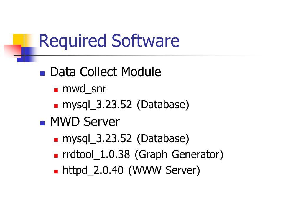 Required Software Data Collect Module mwd_snr mysql_3.23.52 (Database) MWD Server mysql_3.23.52 (Database) rrdtool_1.0.38 (Graph Generator) httpd_2.0.40 (WWW Server)