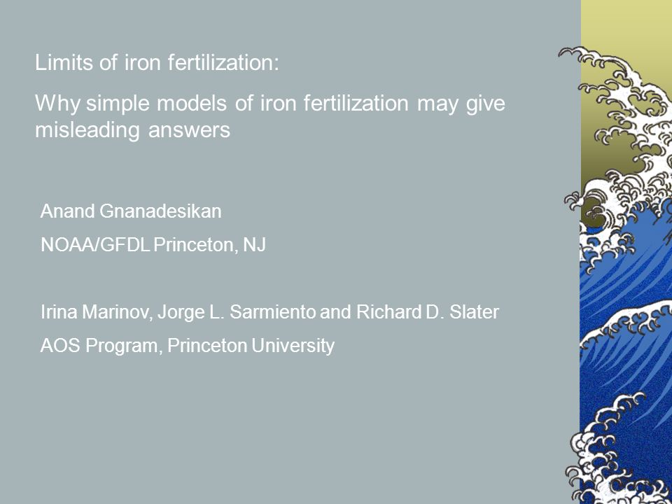 Limits of iron fertilization: Why simple models of iron fertilization may give misleading answers Anand Gnanadesikan NOAA/GFDL Princeton, NJ Irina Marinov, Jorge L.