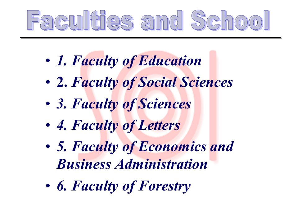 1. Faculty of Education 2. Faculty of Social Sciences 3. Faculty of Sciences 4. Faculty of Letters 5. Faculty of Economics and Business Administration