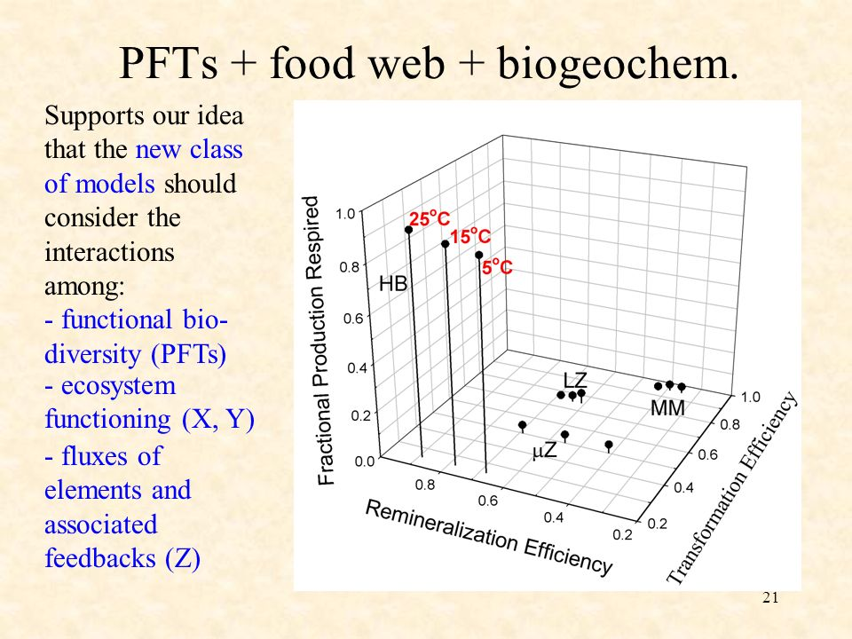 21 PFTs + food web + biogeochem. Supports our idea that the new class of models should consider the interactions among: - functional bio- diversity (P