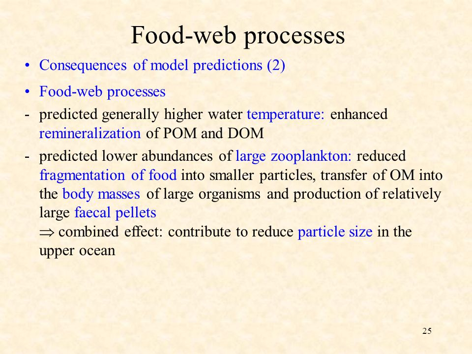 25 Consequences of model predictions (2) Food-web processes -predicted generally higher water temperature: enhanced remineralization of POM and DOM -predicted lower abundances of large zooplankton: reduced fragmentation of food into smaller particles, transfer of OM into the body masses of large organisms and production of relatively large faecal pellets combined effect: contribute to reduce particle size in the upper ocean