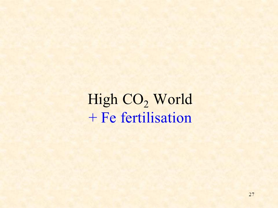 27 High CO 2 World + Fe fertilisation
