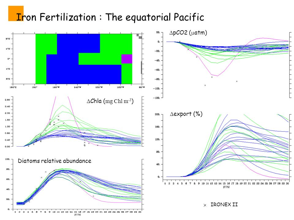 Iron Fertilization : The equatorial Pacific Diatoms relative abundance Chla ( mg Chl m -3 ) IRONEX II pCO2 ( atm) export (%)