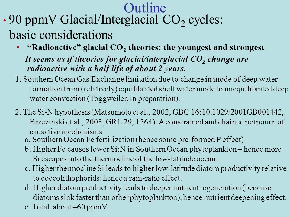 Outline Radioactive glacial CO 2 theories: the youngest and strongest It seems as if theories for glacial/interglacial CO 2 change are radioactive with a half life of about 2 years.