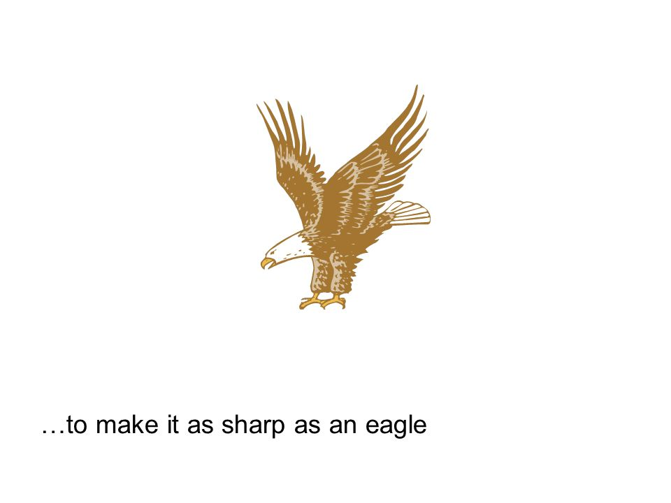 …to make it as sharp as an eagle