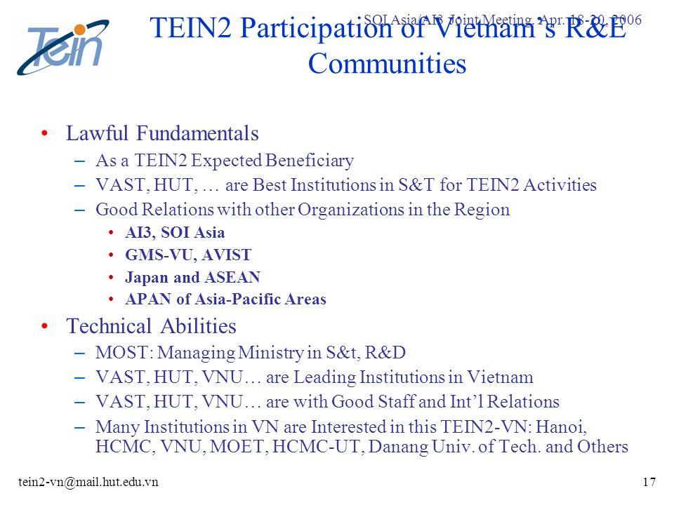 SOI Asia/AI3 Joint Meeting. Apr. 18-20, 2006 tein2-vn@mail.hut.edu.vn17 TEIN2 Participation of Vietnams R&E Communities Lawful Fundamentals – As a TEI