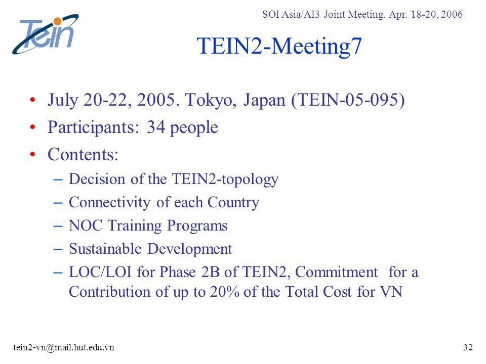 SOI Asia/AI3 Joint Meeting. Apr. 18-20, 2006 tein2-vn@mail.hut.edu.vn32 TEIN2-Meeting7 July 20-22, 2005. Tokyo, Japan (TEIN-05-095) Participants: 34 p