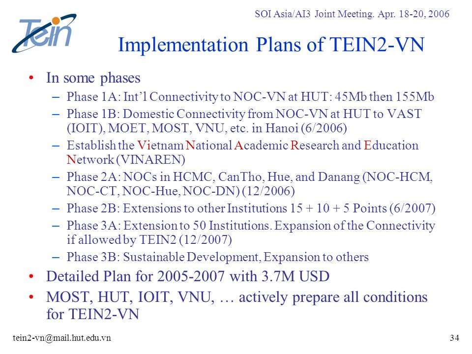 SOI Asia/AI3 Joint Meeting. Apr. 18-20, 2006 tein2-vn@mail.hut.edu.vn34 Implementation Plans of TEIN2-VN In some phases – Phase 1A: Intl Connectivity