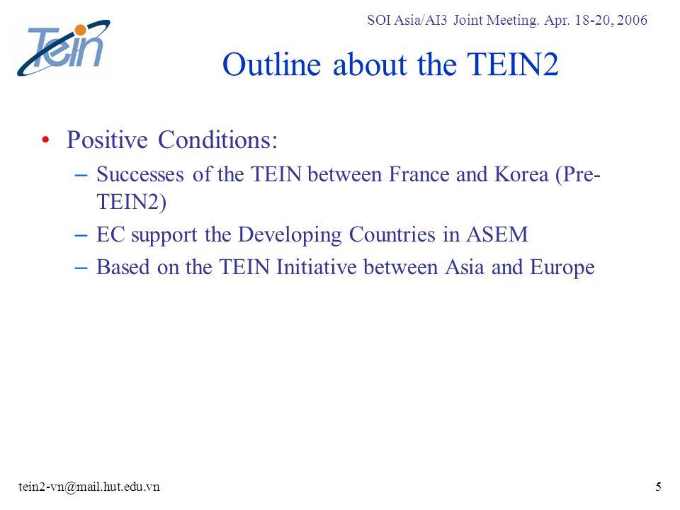SOI Asia/AI3 Joint Meeting. Apr. 18-20, 2006 tein2-vn@mail.hut.edu.vn36 Phase 1B: Hanoi Area