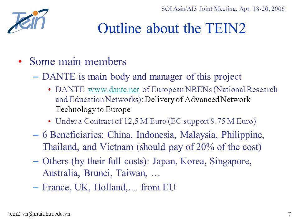 SOI Asia/AI3 Joint Meeting.Apr. 18-20, 2006 tein2-vn@mail.hut.edu.vn28 TEIN2-Meeting4 Jan.