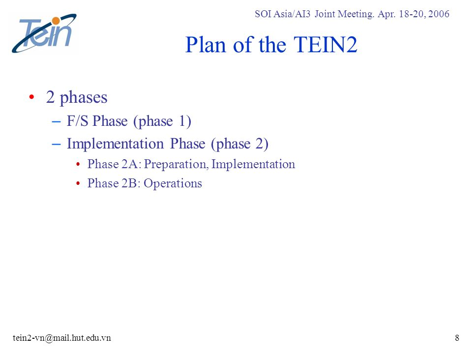 SOI Asia/AI3 Joint Meeting. Apr. 18-20, 2006 tein2-vn@mail.hut.edu.vn8 Plan of the TEIN2 2 phases – F/S Phase (phase 1) – Implementation Phase (phase