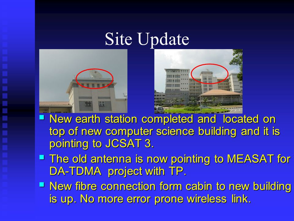 Site Update New earth station completed and located on top of new computer science building and it is pointing to JCSAT 3.
