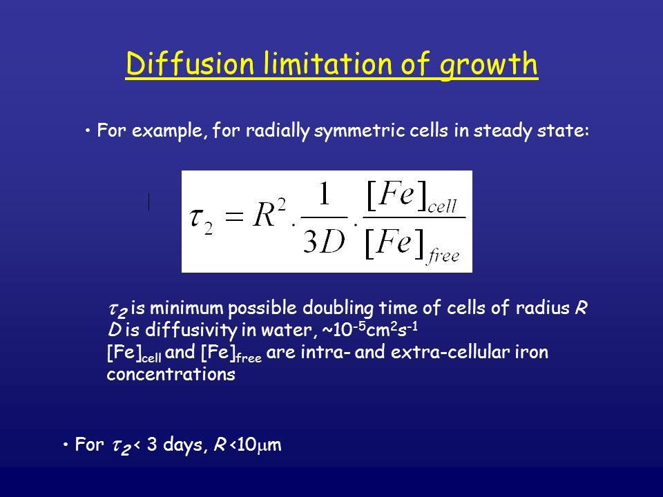 For example, for radially symmetric cells in steady state: 2 is minimum possible doubling time of cells of radius R D is diffusivity in water, ~10 -5
