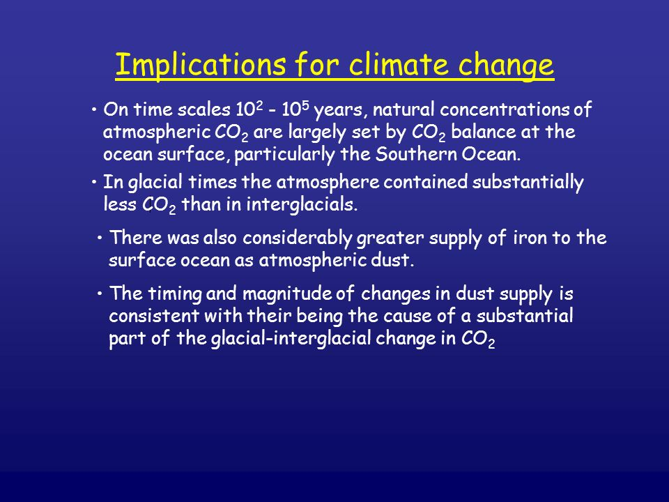 Implications for climate change On time scales 10 2 - 10 5 years, natural concentrations of atmospheric CO 2 are largely set by CO 2 balance at the oc