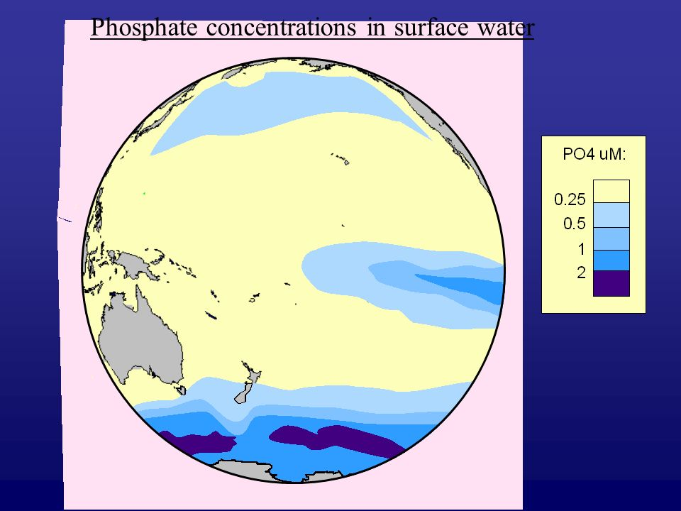 Phosphate concentrations in surface water