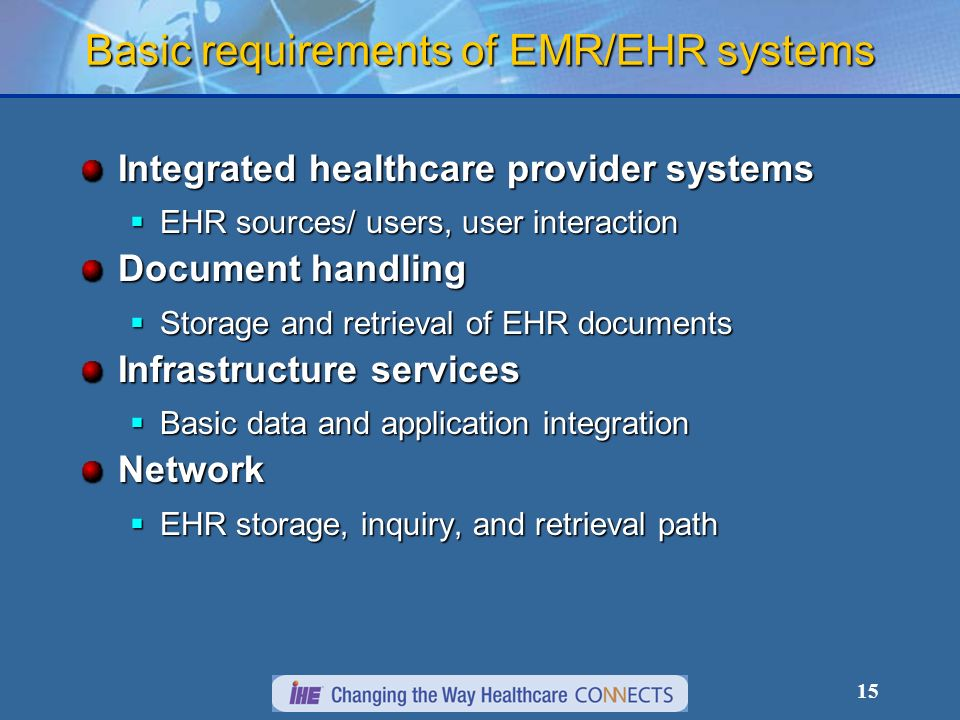 15 Basic requirements of EMR/EHR systems Integrated healthcare provider systems EHR sources/ users, user interaction EHR sources/ users, user interaction Document handling Storage and retrieval of EHR documents Storage and retrieval of EHR documents Infrastructure services Basic data and application integration Basic data and application integrationNetwork EHR storage, inquiry, and retrieval path EHR storage, inquiry, and retrieval path