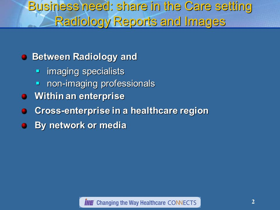 13 Sharing Imaging Documents (XDS-I) Document Registry Register report & image references Retrieve selected imaging report references Radiology department patient Query for re- ports Document availability Shared re- pository Onco- logist GP (follow-up) Images, report (PACS, RIS) report Longitudinal record system: across encounters Care record sys- tems: specific care delivery Retrieve